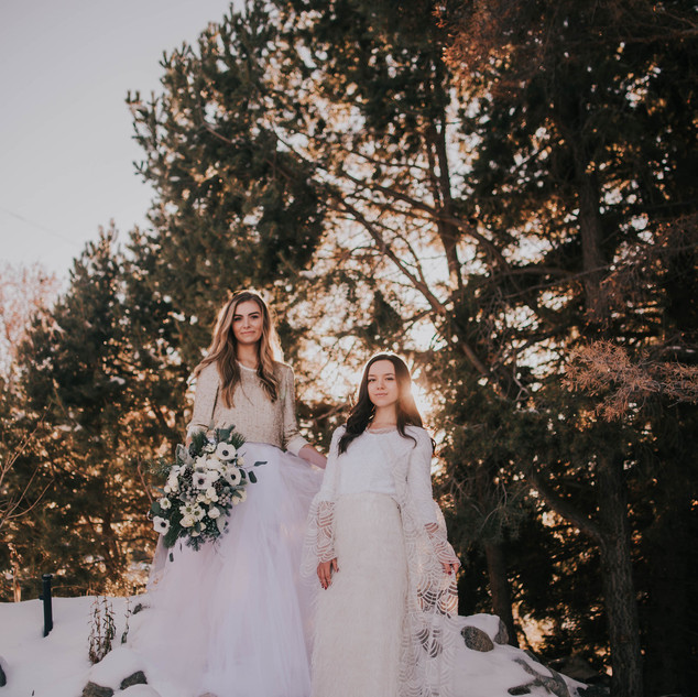 Beautiful Brides on Top of Our Frozen Waterfall