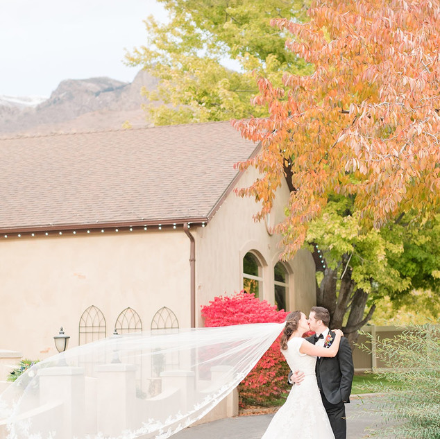 Wedding couple in the Fall at Oak Hills Reception and Event Center
