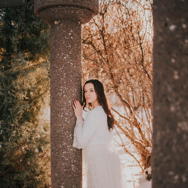 Winter Bride in the Ceremony Gazebo
