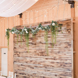 Wood Feature Wall iin Barn at Oak Hills Reception and Event Center