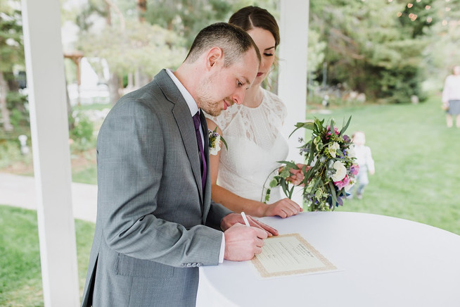 Marriage license signing