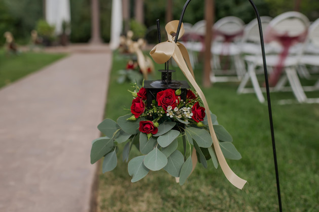 Aisle Lanterns with Flowers & Ribbon