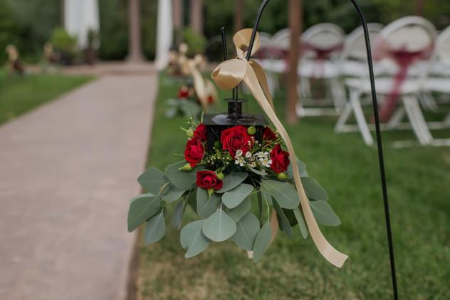 Aisle Lanterns with Flowers & Ribbon