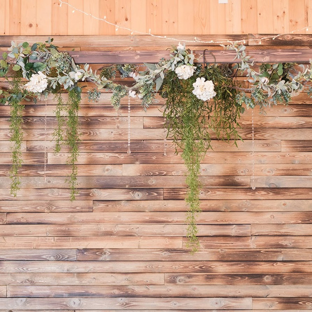 Wood Feature Wall at Oak Hills Reception and Event Center Barn Venue