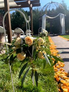 Lantern Flowers & Petals Lining the Aisle