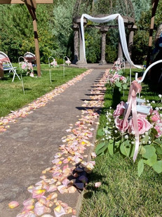 Flower Petals Lining the Aisle
