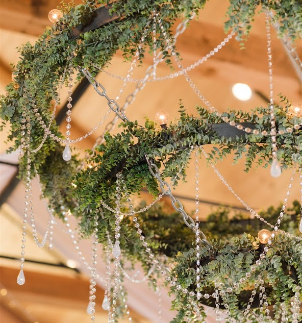Rustic Chandelier in the Barn at Oak Hills Reception and Event Center