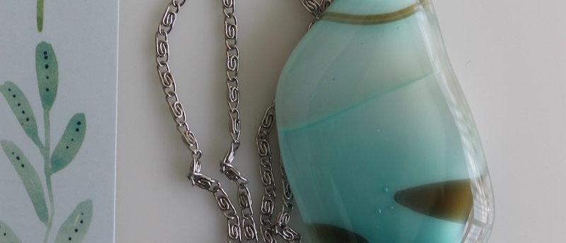 Halsketting appelblauw-zeegroen