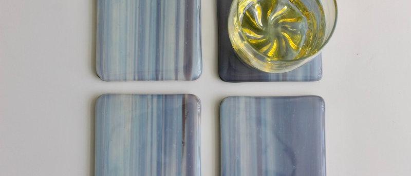 4 onderzetters glas bleek paars