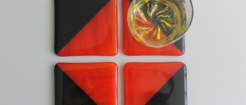 4 onderzetters glas oranje zwart