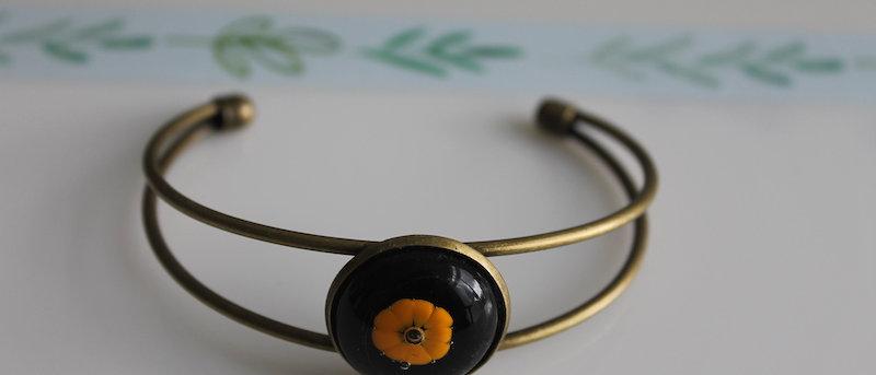 Slipover armband zwart oranje