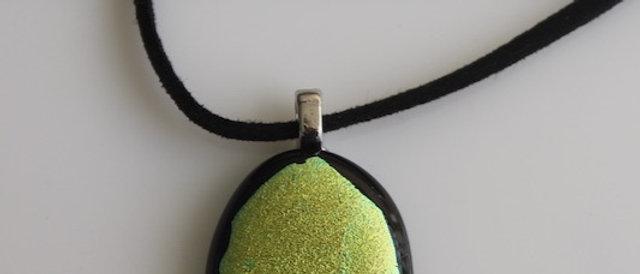 Halsketting zwart geel/groen