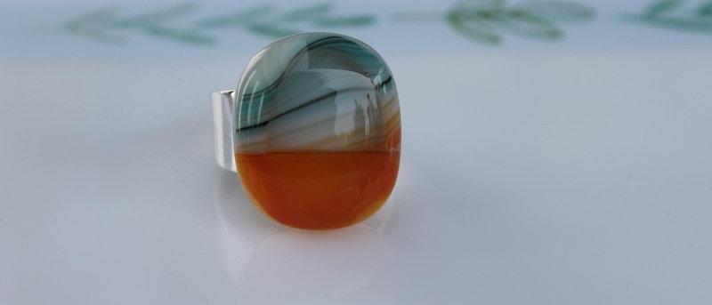 Ring oranje appelblauw-zeegroen