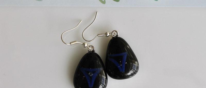 Oorbellen zwart blauw