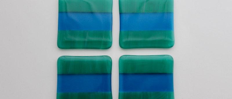 Onderzetters glas groen blauw