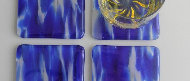 4 onderzetters glas blauw
