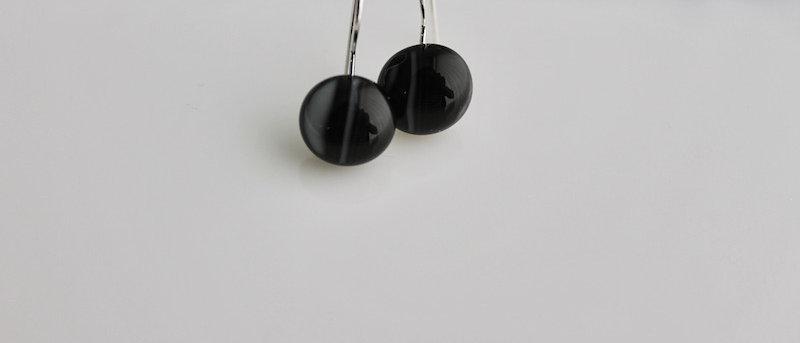 Oorbellen zwart grijs