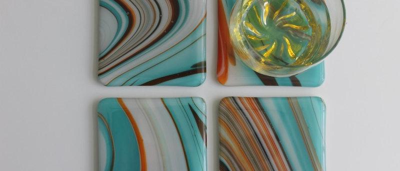 4 retro onderzetters glas