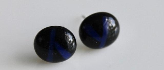 Oorstekertjes zwart blauw