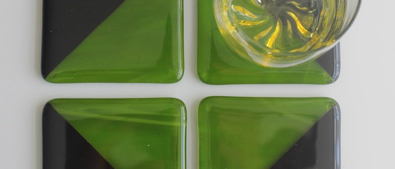 4 onderzetters glas groen zwart