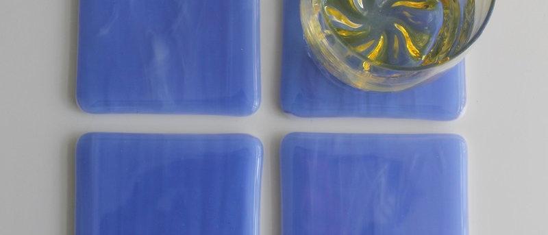 4 onderzetters glas hemelsblauw