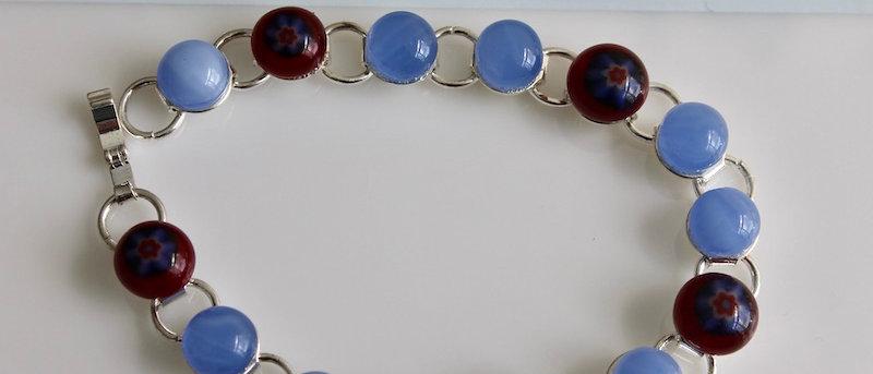 Geschakelde armband blauw rood