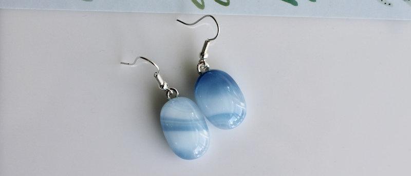 Oorbellen blauw wit