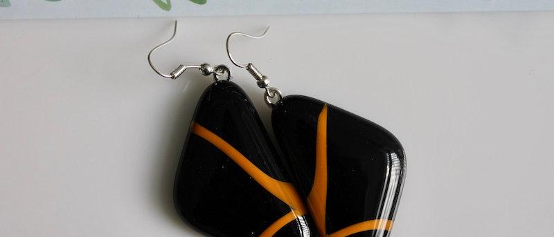 Oorbellen retro zwart oranje