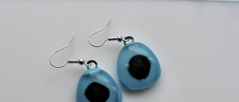 Oorbellen blauw met zwart oog
