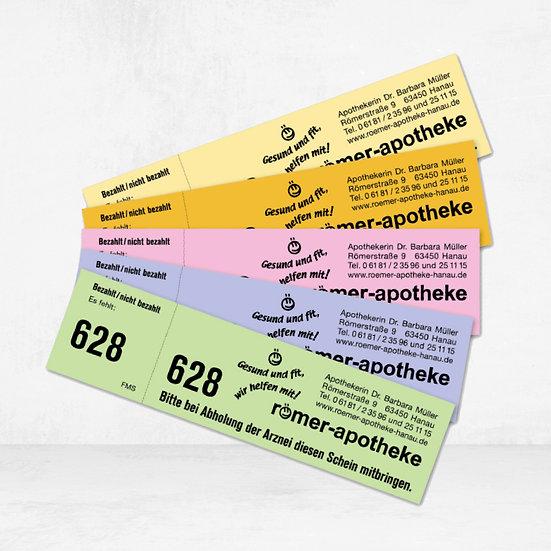 Rezeptkontrollmarken ungummiert mit individuellem Druck in schwarz
