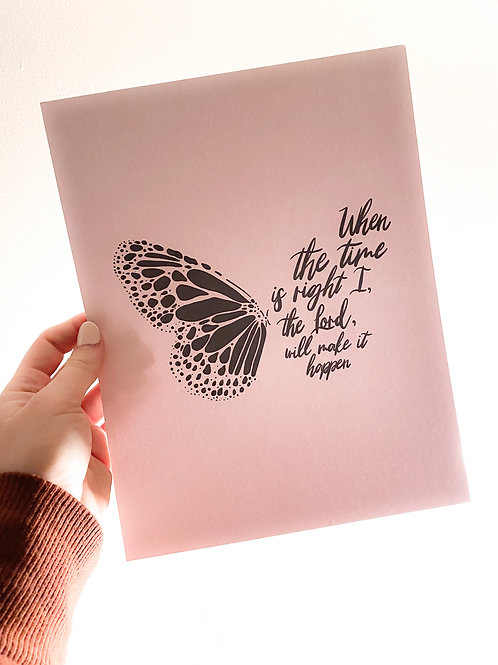 His Timing // Faithful Butterfly Print in Pink