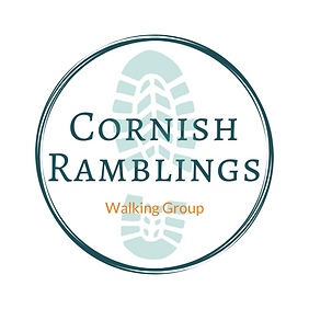 Cornish Ramblings Logo. Cornish Ramblings inside a circle with a footprint in the background.