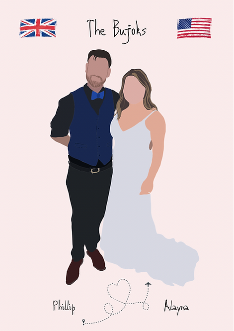 Personalised Digital Couple Portrait