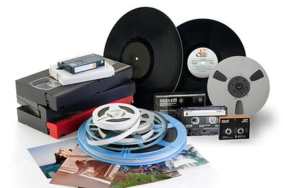 VHS, tapes, LP's