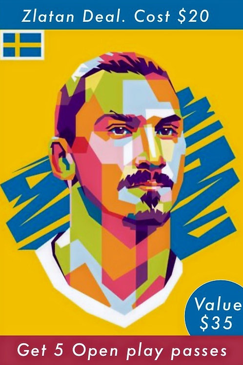 Zlatan Deal. Pay $20 get 5 open play passes