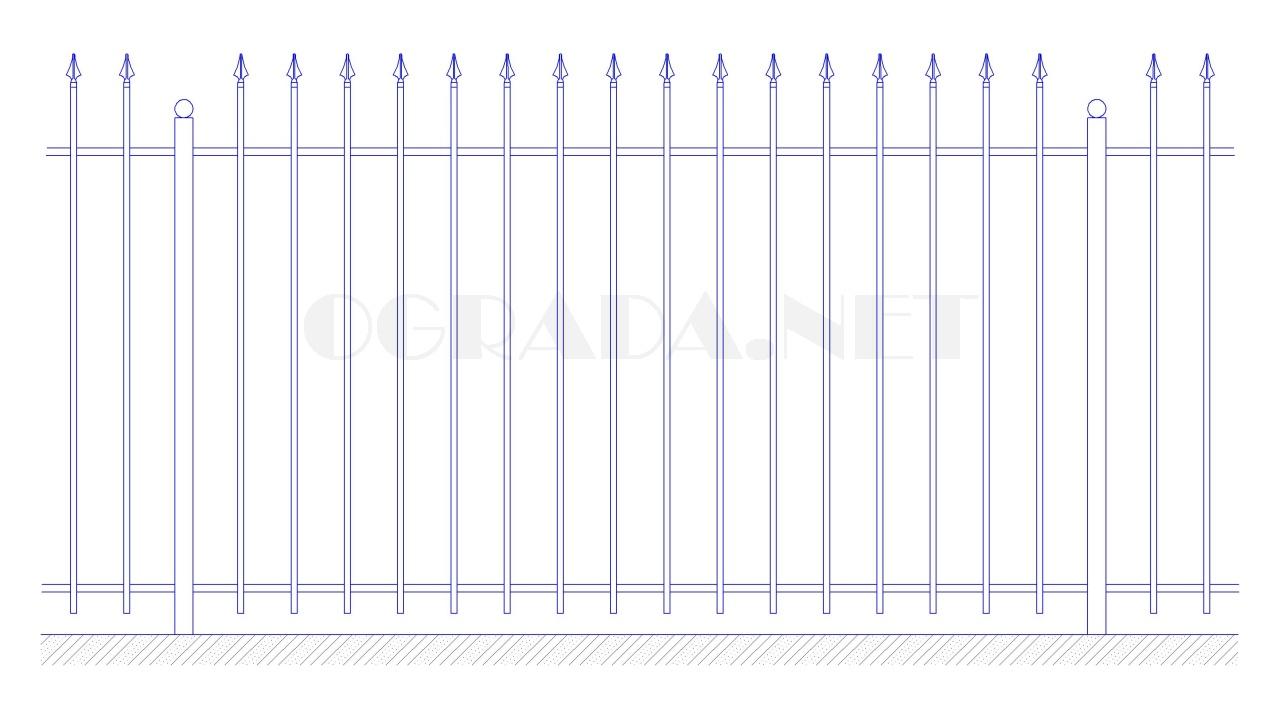 Забор сварной с элементами ковки ЗС 1800-5