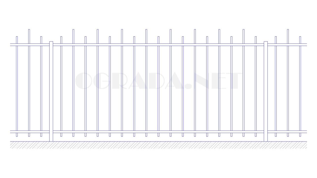 Забор сварной металлический ЗС 1500-2