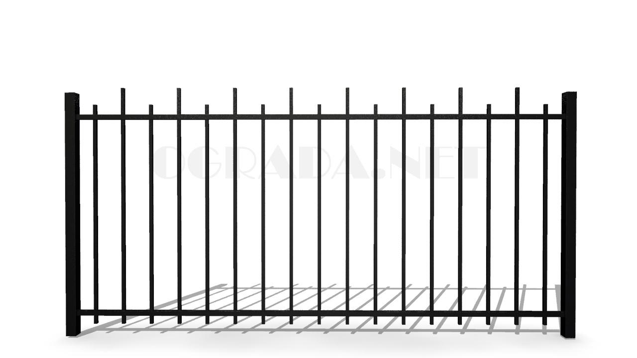 Забор сварной металлический ЗС 1500-2 черный