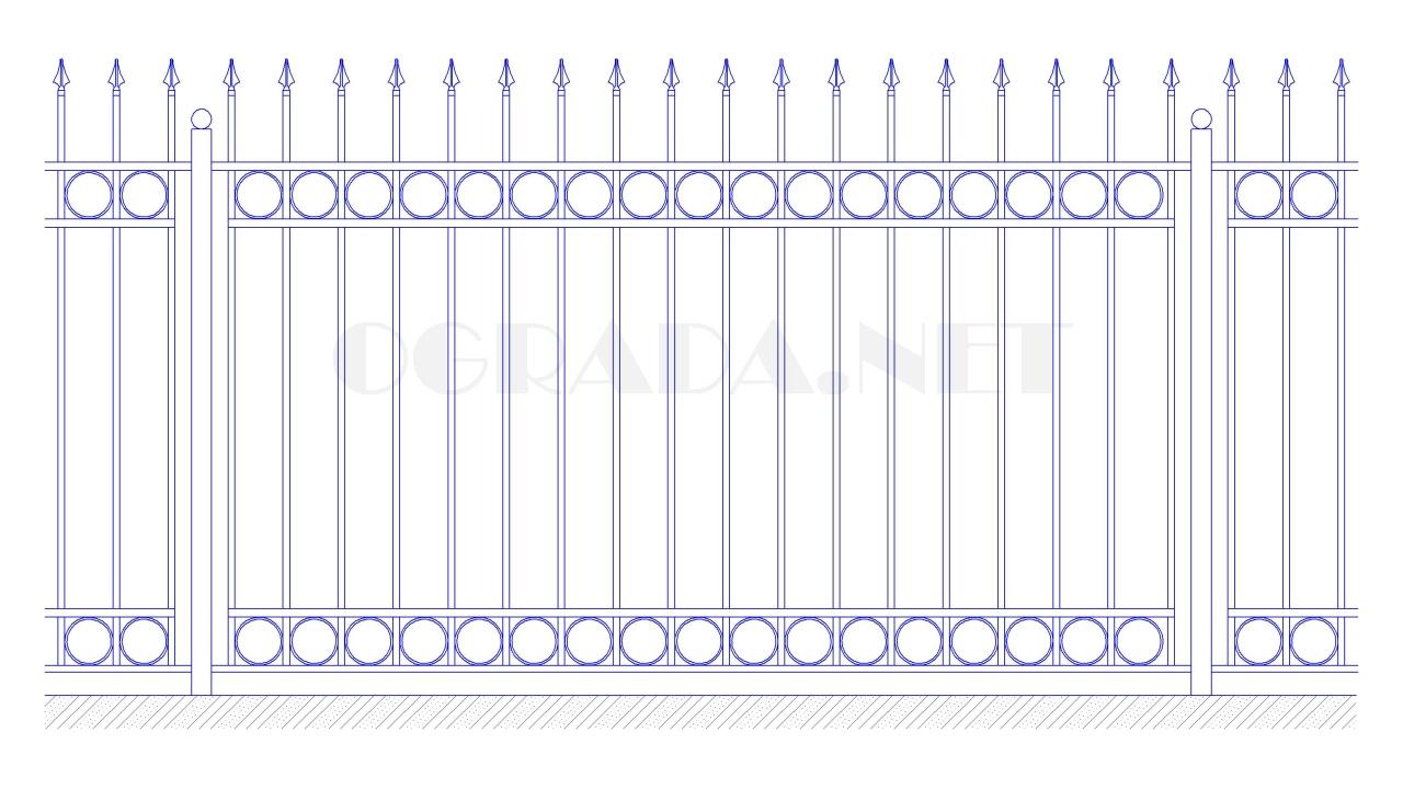 Забор сварной кованый ЗС 1800-6