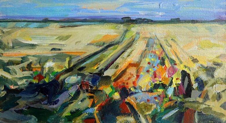 Feld im Sommer, 12,5 cm x 23,5 cm