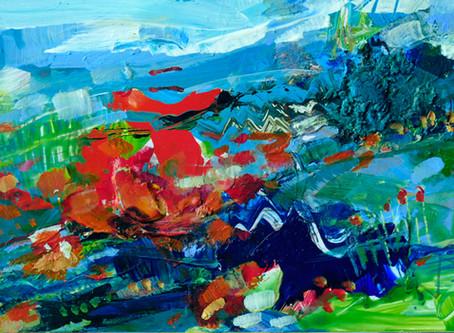 """""""Inspiration"""" Titel: """"Landschaft mit rot"""""""