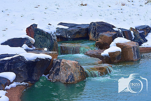 Park Waterfall with Snow
