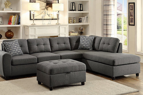 Stonenesse Tufted Sectional Grey