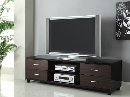 TV Console Glossy Black And Walnut