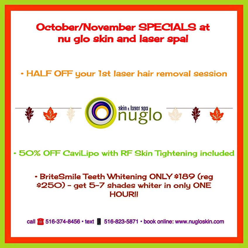 October & November Specials at nu glo