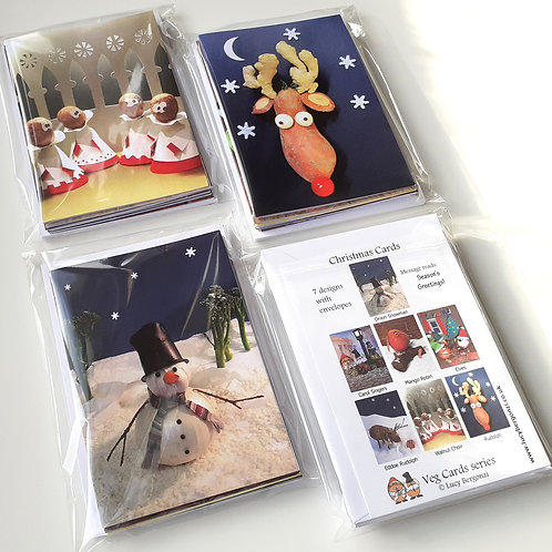 Christmas Cards - Veg Series: pack of 7 designs