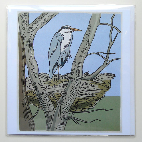Heron on its Nest card
