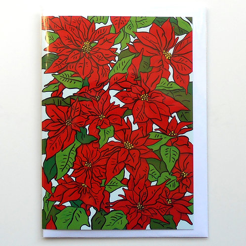Poinsettias Christmas Card