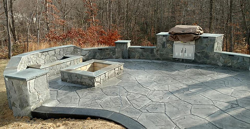 stamped concrete patio, flagstone patio, outdoo patio, seating all with light, firepit, decorative concrete, concrete patio, stamped concrete, fireplace, gas grill, outdoor kitchen, outdoor fireplace