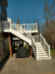 deck builder, deck contractor, Woodbridge deck builder, Haymarket trex deck builder, gainesville deck builder, nokesville deck builder, stafford deck, decks, vinyl railng, white railing, composite wood deck, decorative concrete, wood deck